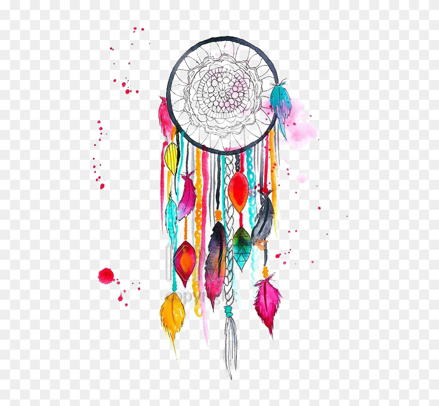 Colored Drawing Dreamcatcher Dream Catcher Drawing Colour Clipart 5293103 Pinclipart