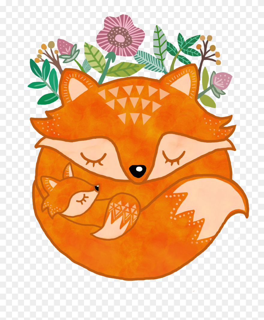 Baby Mother Animal Fox Woodland Creature Cute Mom And Baby Fox Clipart Png Download 5332924 Pinclipart