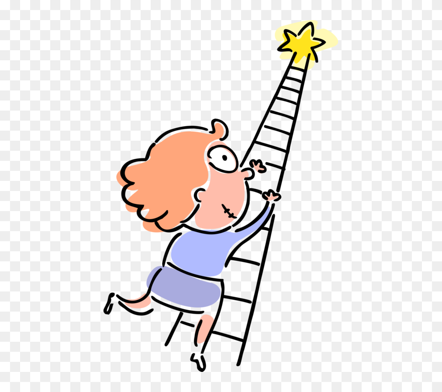 vector illustration of ambitious businesswoman climbs cartoon ladder of success clipart 5400198 pinclipart cartoon ladder of success clipart