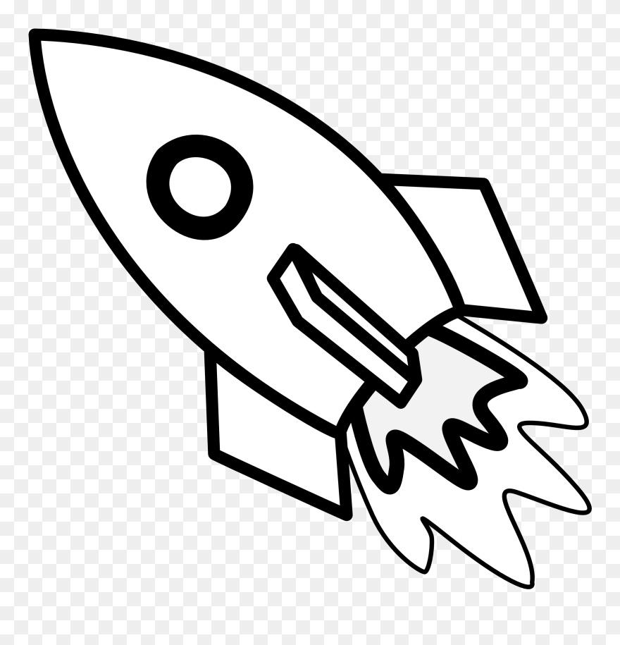 Rocket Ship Line Art