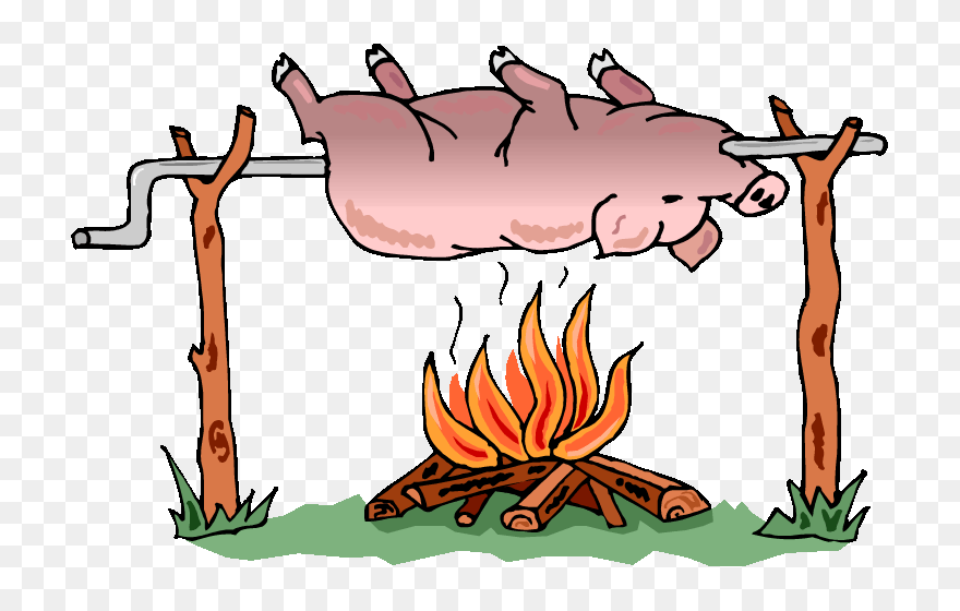 Pig On A Barbecue Pit - Spit Roast Pig Cartoon Clipart (#5541669) -  PinClipart
