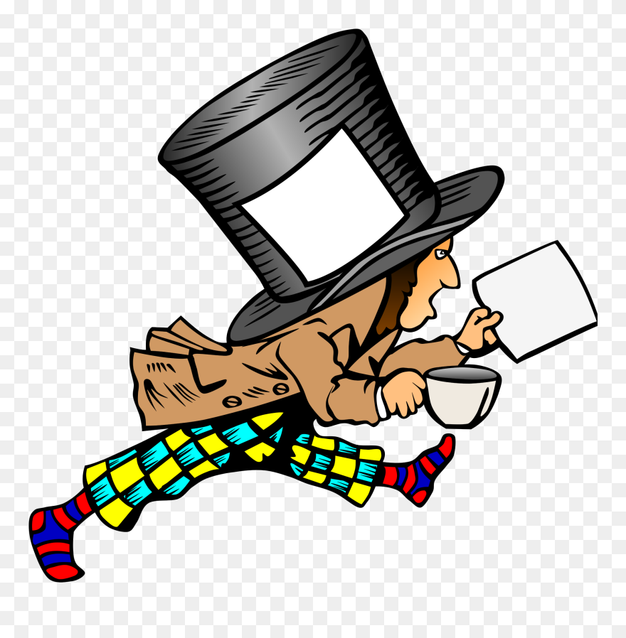 Mad Hatter With Clean Label On Hat Holding Paper Svg Mad Hatters Hat Card Clipart 5562091 Pinclipart