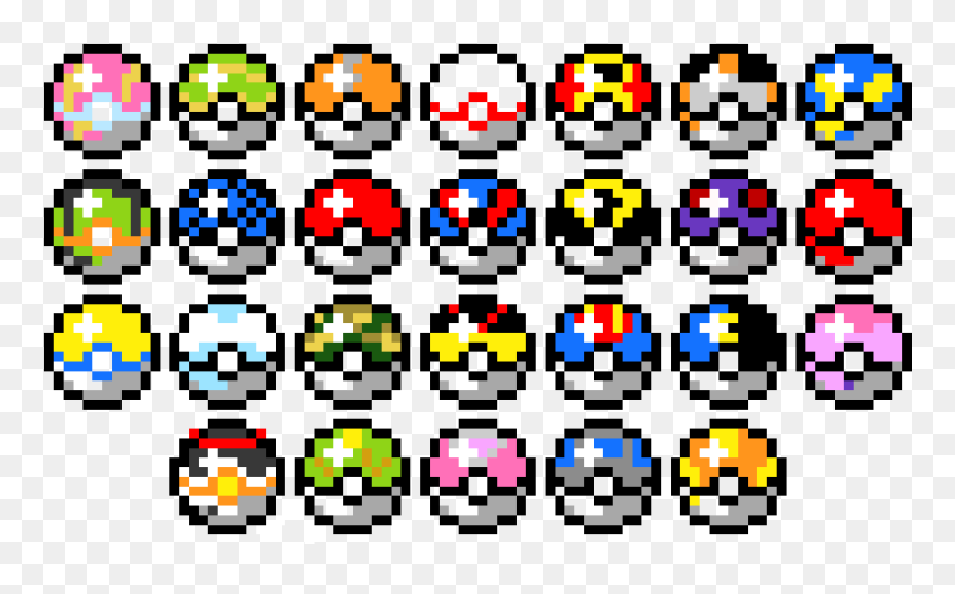 Pixel Art Pokeballs Png Download Pixel Art Pokemon Pokeball Clipart 5584306 Pinclipart