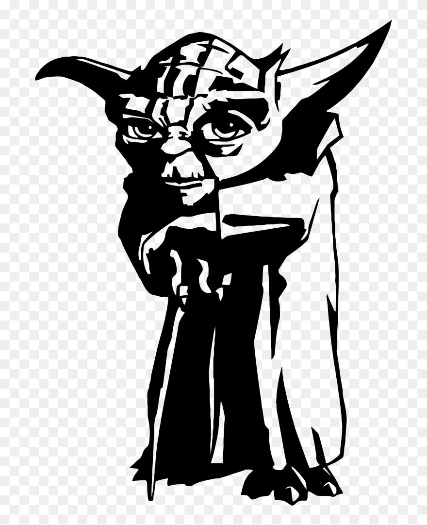 Yoda Face Silhouette - Yoda Black And White Clipart@pinclipart.com