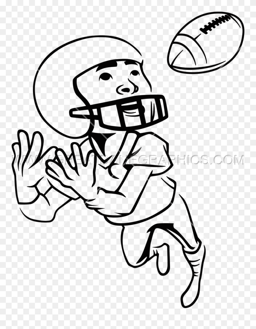 Football Player Clipart Black And White Kids Picture Kid Catching Football Drawing Png Download 5734383 Pinclipart