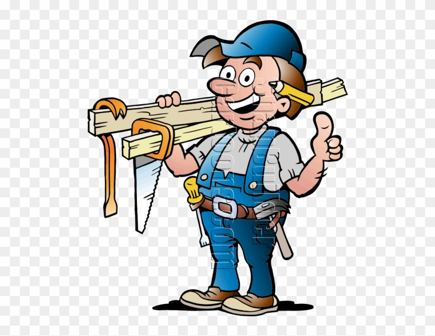 Handyman With Carpentry Tools Cartoon Picture Of A