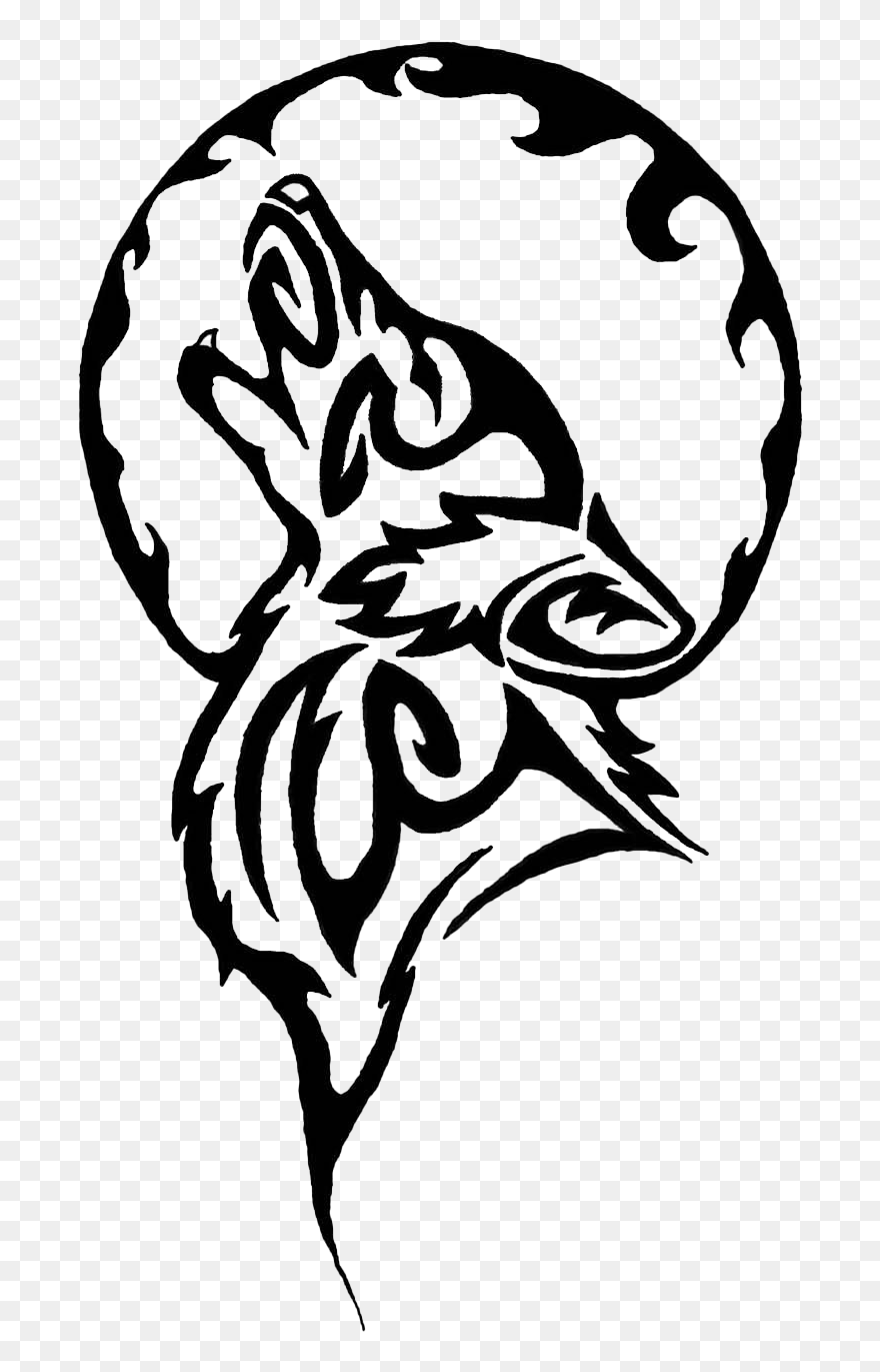 Tribal Tattoos Png Image Free Download Wolf Howling At The Moon Coloring Pages Clipart 5805441 Pinclipart