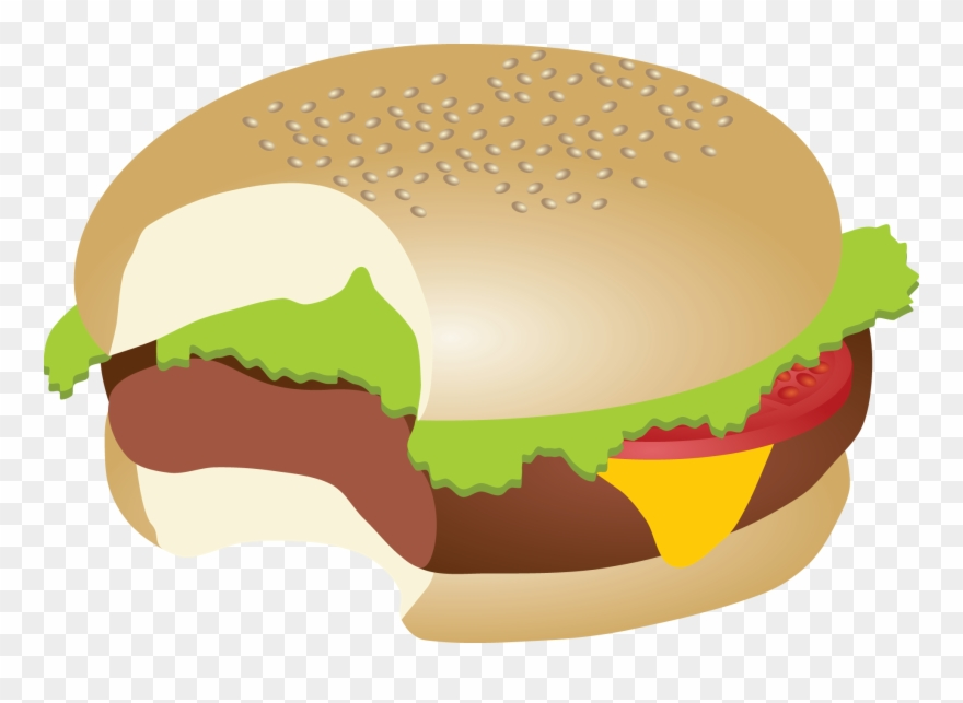Download Hamburger Fast Food Veggie Submarine Hamburg - Burger Bite Clipart - Png Download