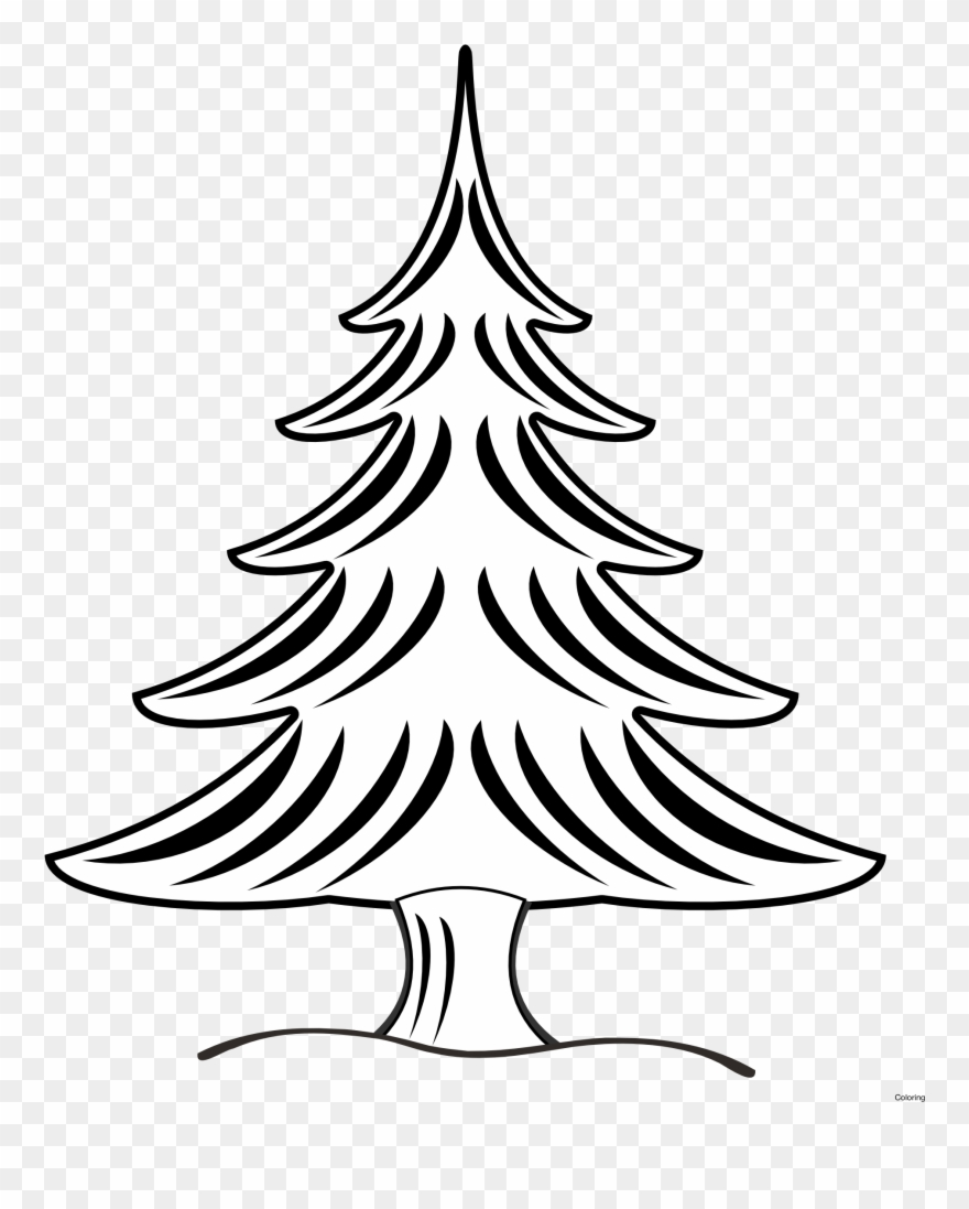 Drawn Christmas Tree Art Nouveau Vector Art Black And White