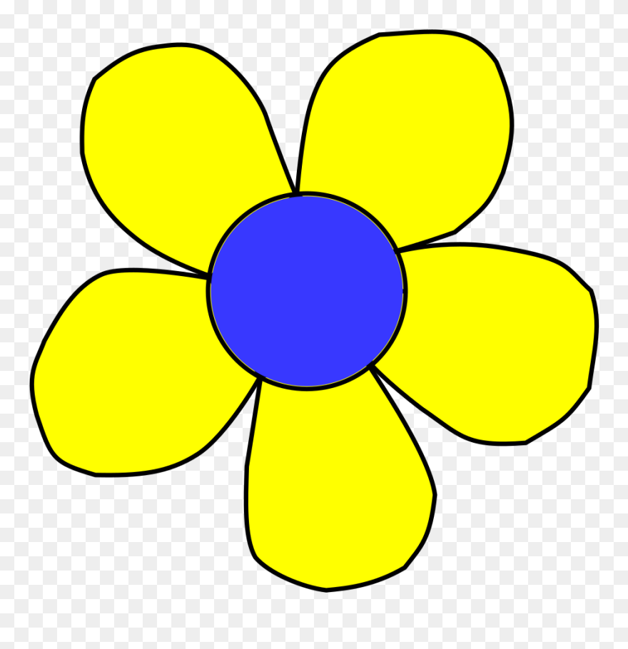 Blue Flower Clipart Flower Head Yellow And Blue Cartoon Flower Png Download 63046 Pinclipart