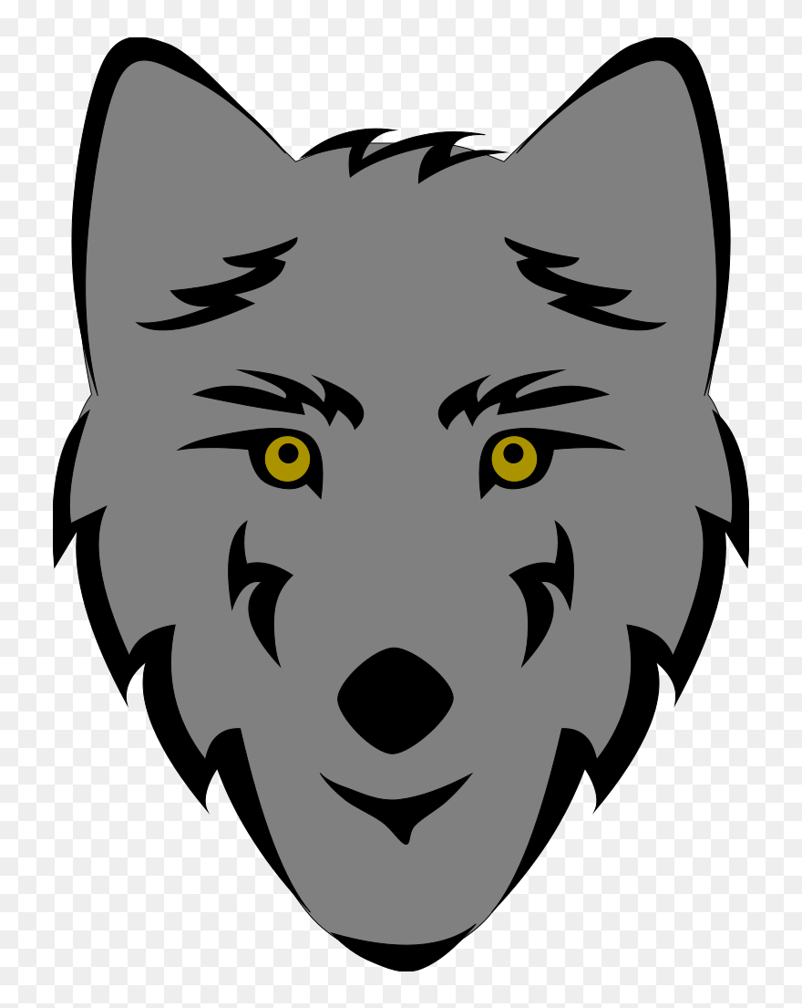 Wolf face. Clip art drawing easy