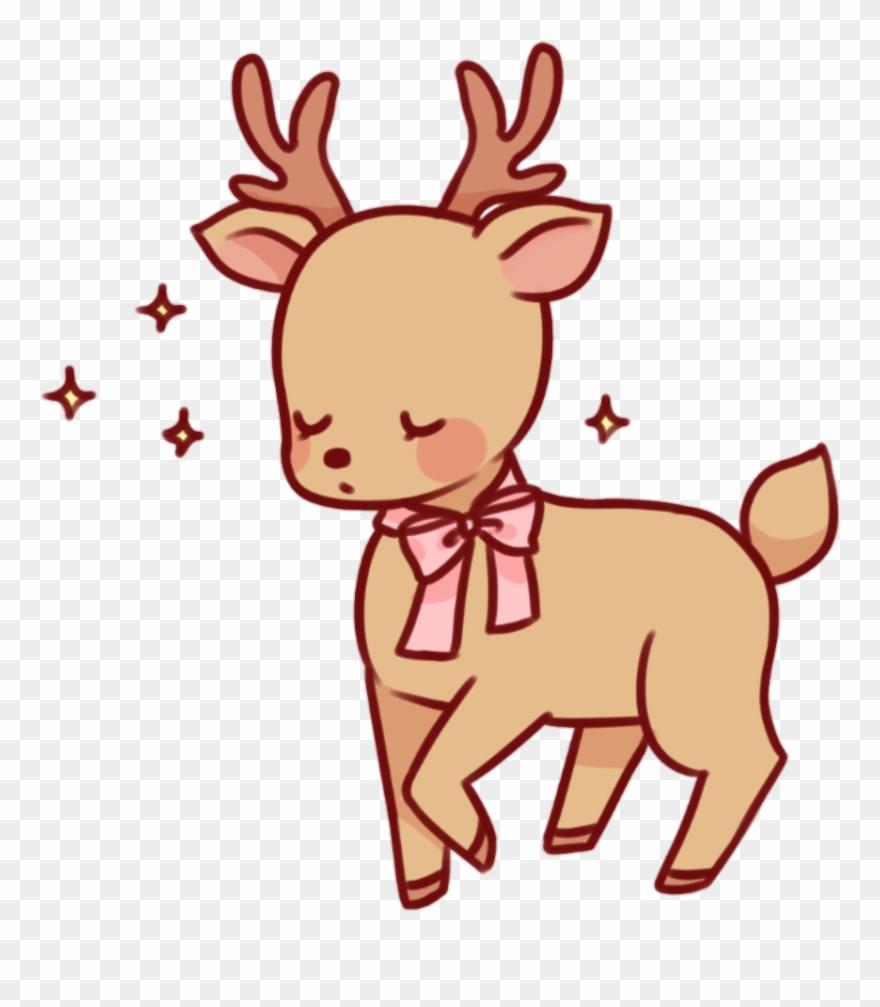 Deer kawaii. Brown pink bow cute