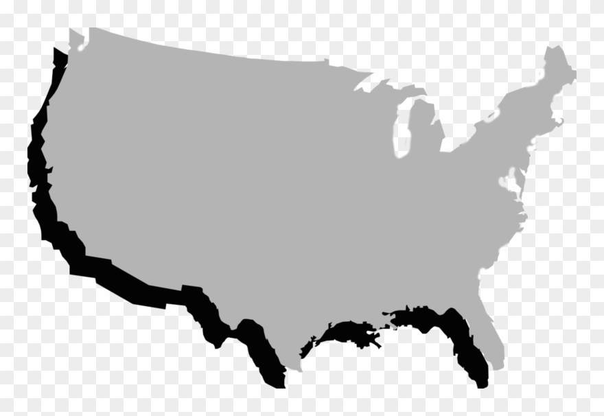 United States Clipart Border State - Gray Map Of Usa - Png ...