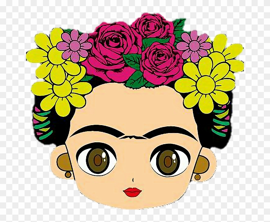 Dibujo Para Colorear De Frida Kahlo: Cara De Frida Kahlo Dibujo Clipart (#676683)