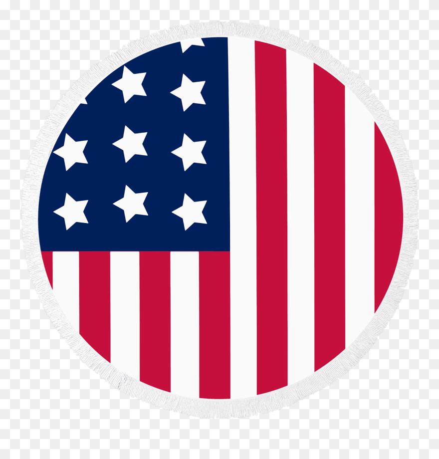 American flag circle. Round beach towel patriot