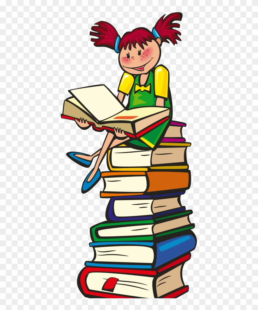 Drawing Of Child Sitting On Stack Of Books Reading Clipart