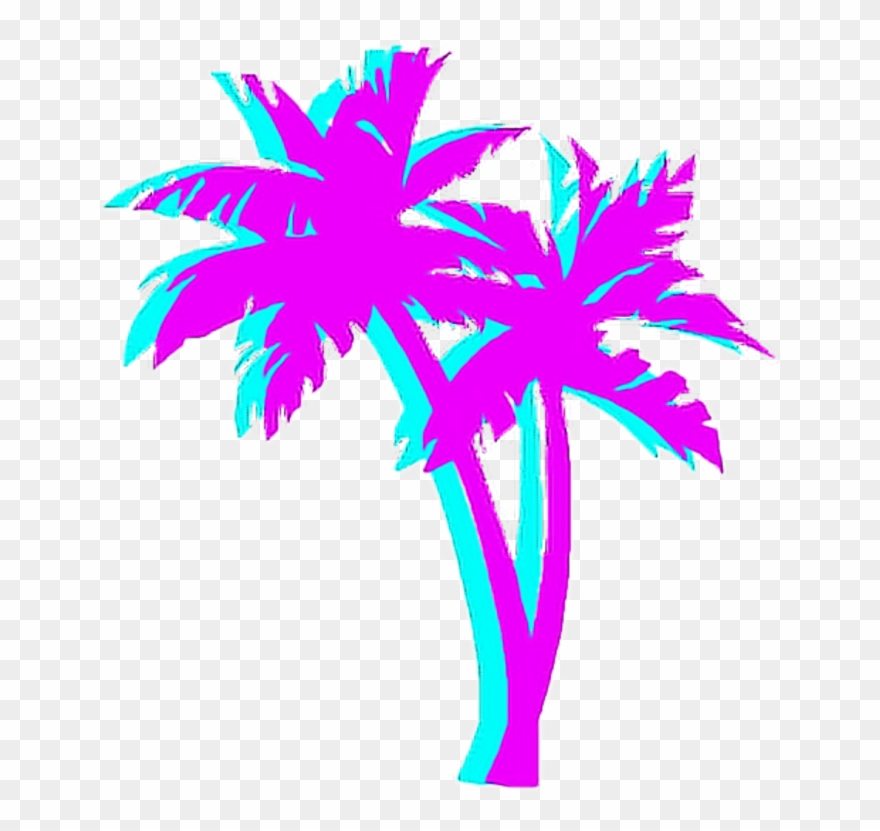 Vaporwave clip art. Palmtree palm night japan