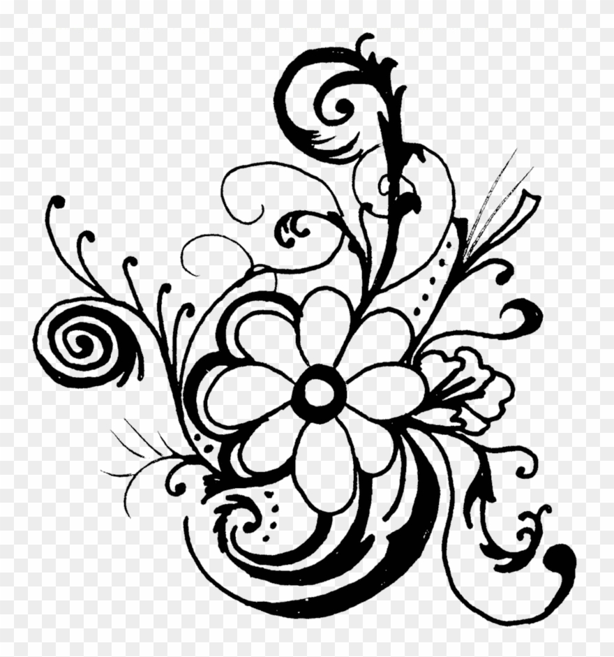 Monochrome Clipart Flower - Flowers Clip Art Black And White Border - Png Download