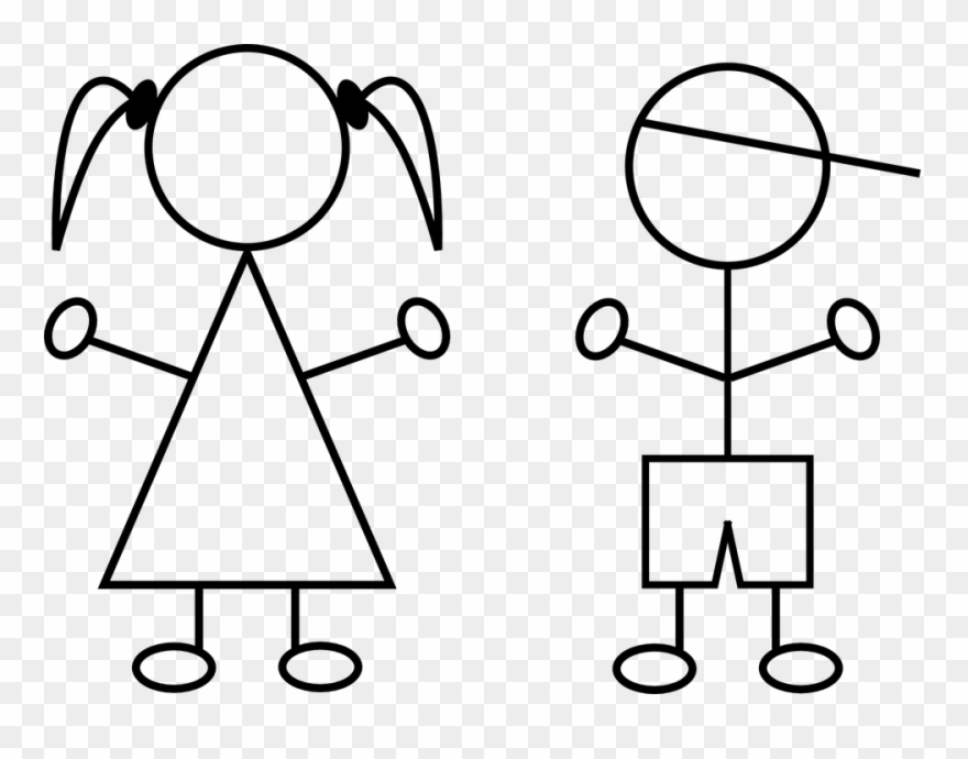 Free Vector Graphic Children Boy Girl Line Drawings Clipart