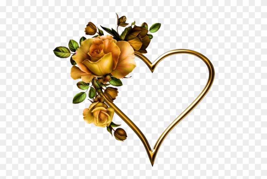 2a497c71ab1dd Purple Heart Tattoos, Rose Heart Tattoo, Tattoo Hearts, - Gold Heart With  Flower