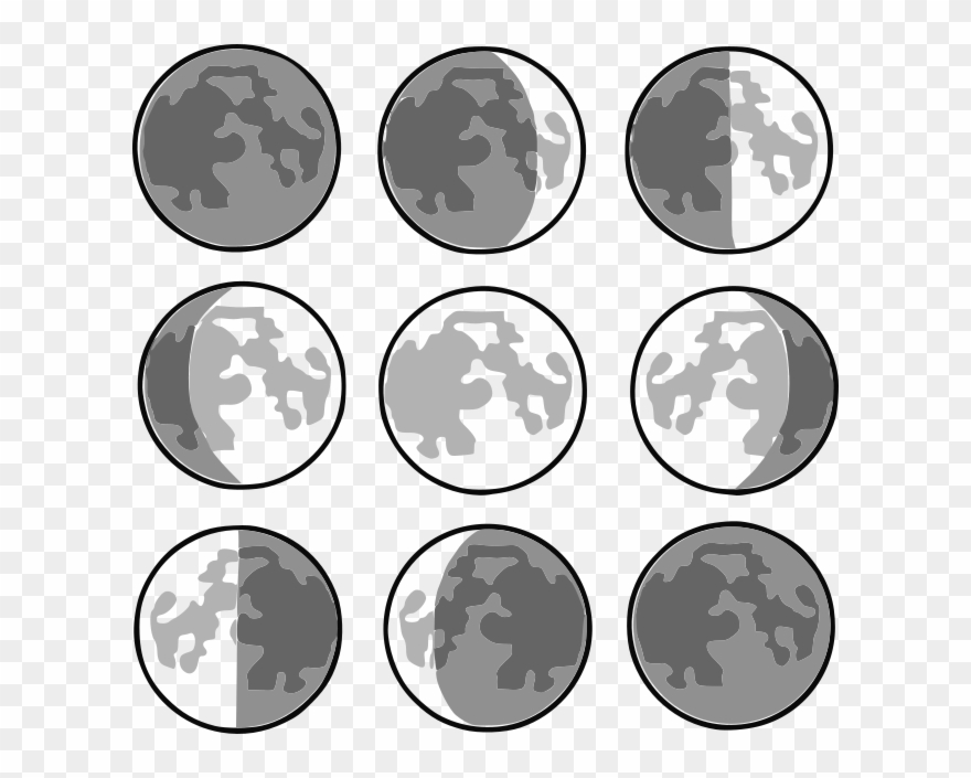 8 Phases Of The Moon Clipart (#726034) - PinClipart