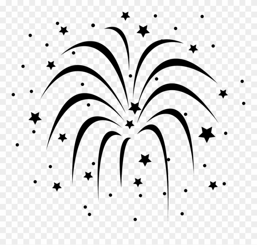 Firework Clipart Ycoggmdce Fireworks Black And White Black And White Fireworks Transparent Background Png Download 747030 Pinclipart