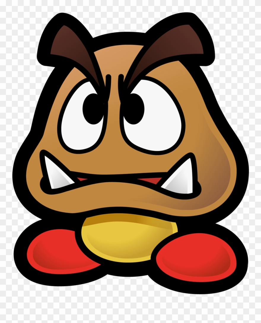 Mario goomba. Mascot paper png clipart
