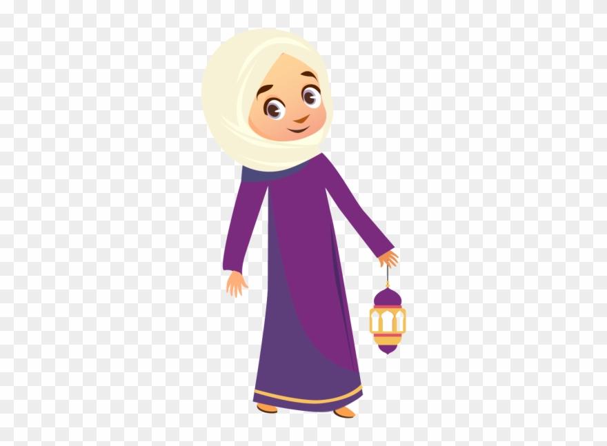Eid Mubarak Calligraphy Fiter Muslim Girl - Hijab Girl Vector Png Clipart