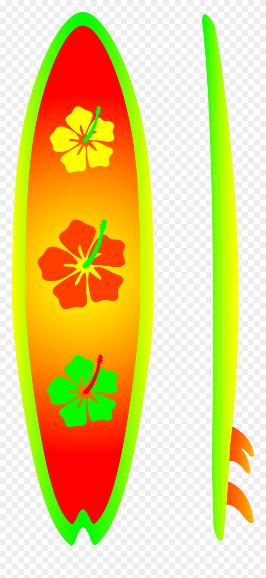 Neon Surfboard With Hibiscus Design Free Clip Art - Surfing