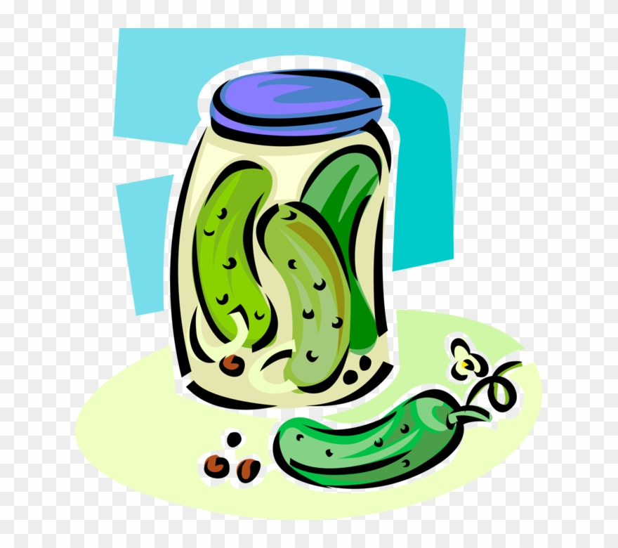 Vector Illustration Of Homemade Pickled Vegetable Cucumber