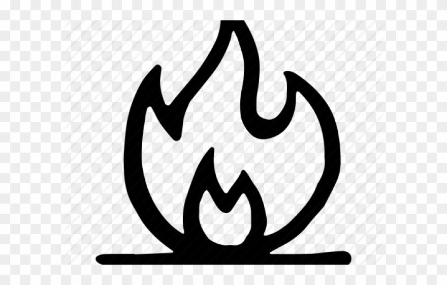 Drawn Campfire Hand Llama Fuego Dibujo Blanco Y Negro Clipart