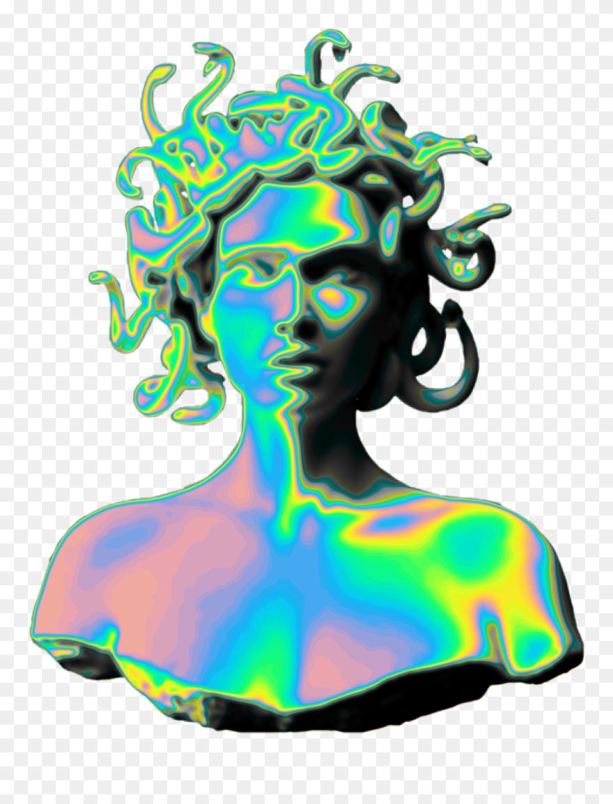 Vaporwave aesthetic glitch art. Holo holographic medusa sculpture