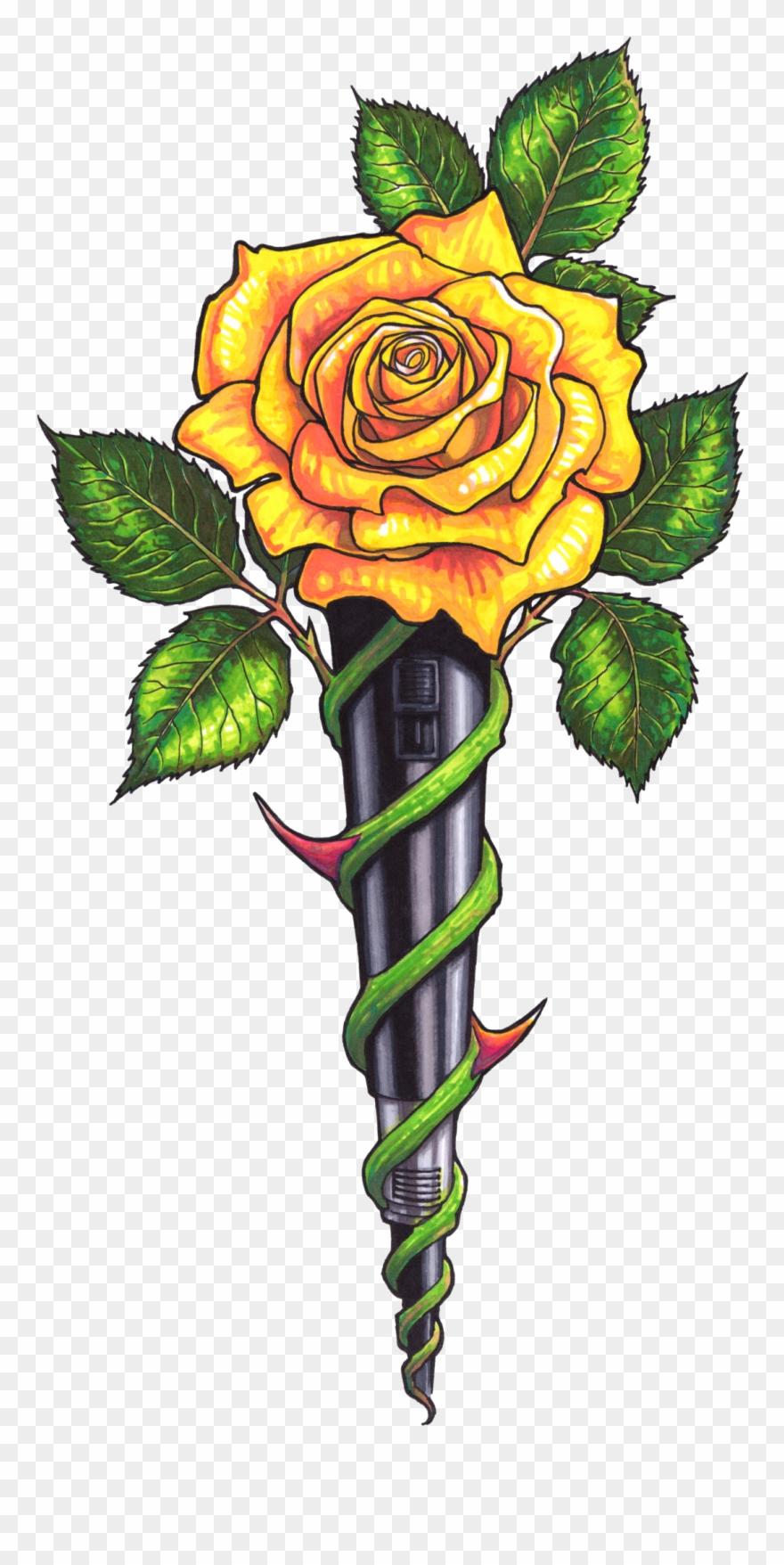 Yellow Rose Clipart Beautiful - Rose Cross Art - Png Download