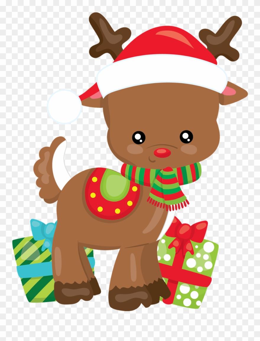 Reno Navidad Dibujos Animados Navidad Clipart Tarjetas