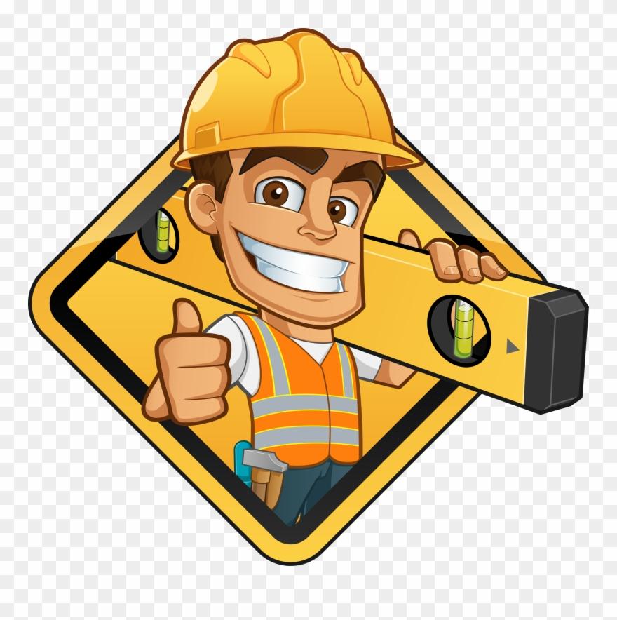Gigantic Free Clipart Construction Worker Vector Graphics - Spirit Level Cartoon - Png Download