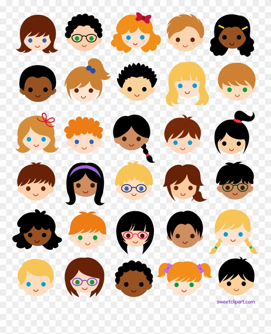30 Kids Faces In School Classroom Clipart 92615
