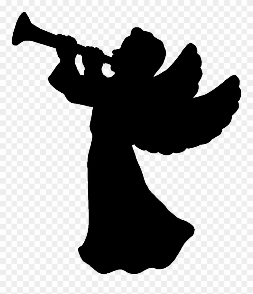 Angel silhouette. With trumpet clipart