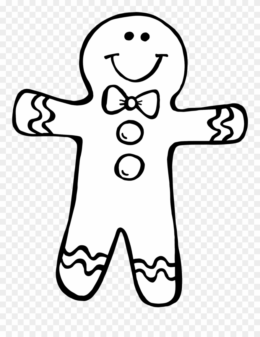 Secrets Gingerbread Girl Coloring Page I Just Finished Gingerbread Man Clip Art Black And White Png Download 94972 Pinclipart