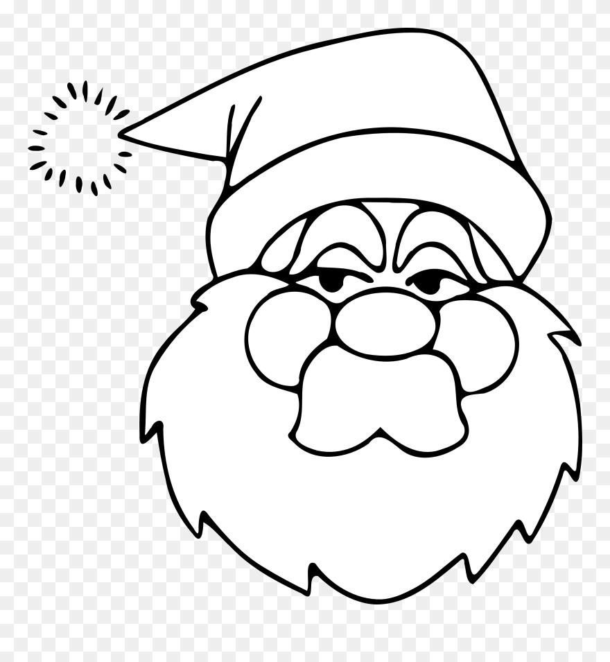 christmas clipart black white  weihnachtsmann gesicht