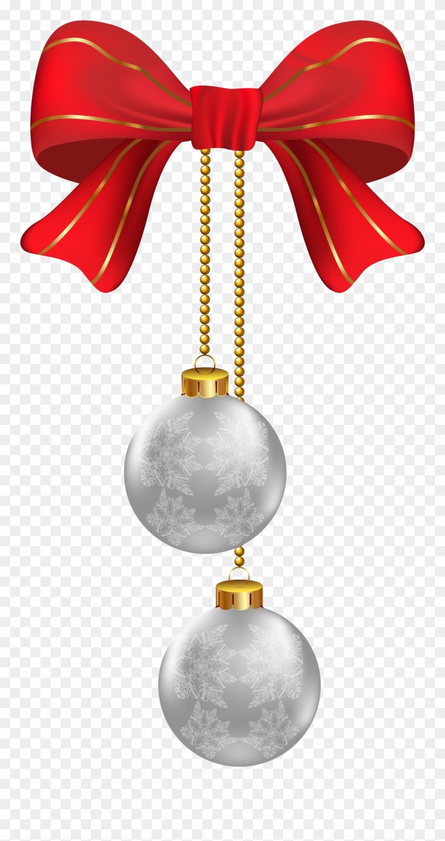 Hanging Christmas Silver Ornaments Png Clipart Image