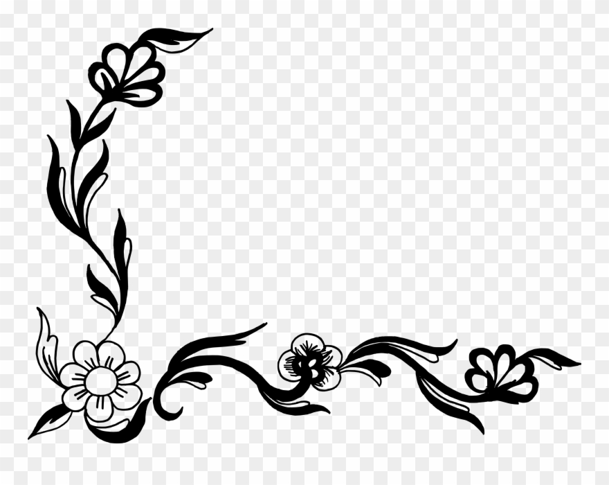 Corner Clipart Books Line Art Flower Design Png Download