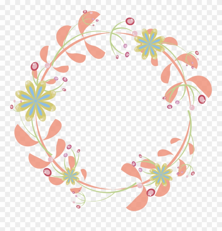 Border Flowers Pink Rattan Round Transprent Png Floral Circle