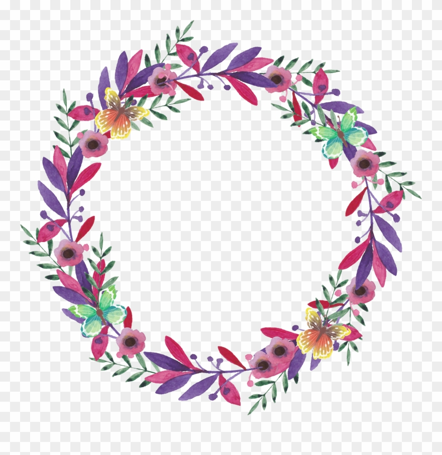 Flower Watercolor Painting Wreath Vector Painted Garlands - Wreath Clipart