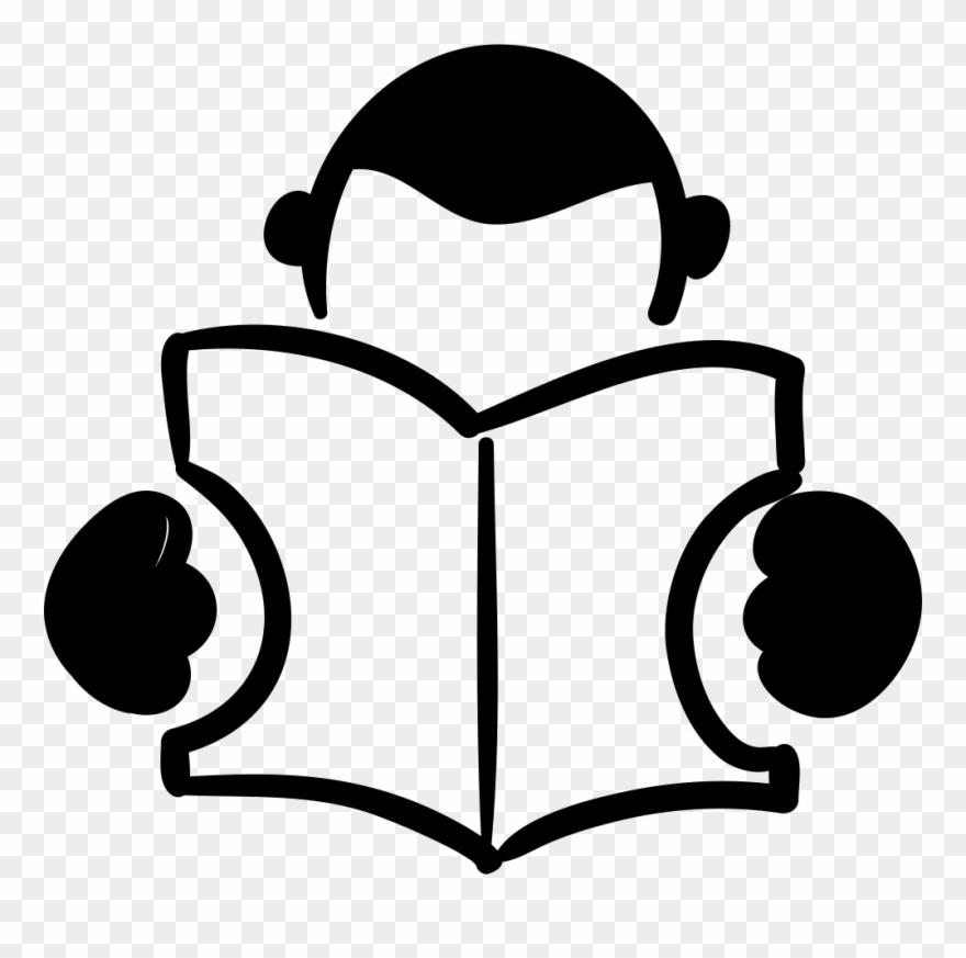 Book logo. Drawn bobook person reading