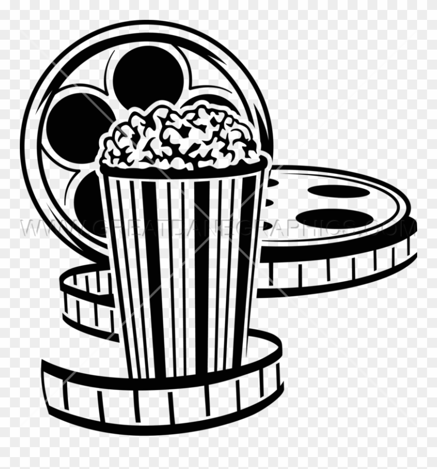 Movie Reel And Popcorn Png Black And White Drive In Movie Clip Art Transparent Png 974829 Pinclipart